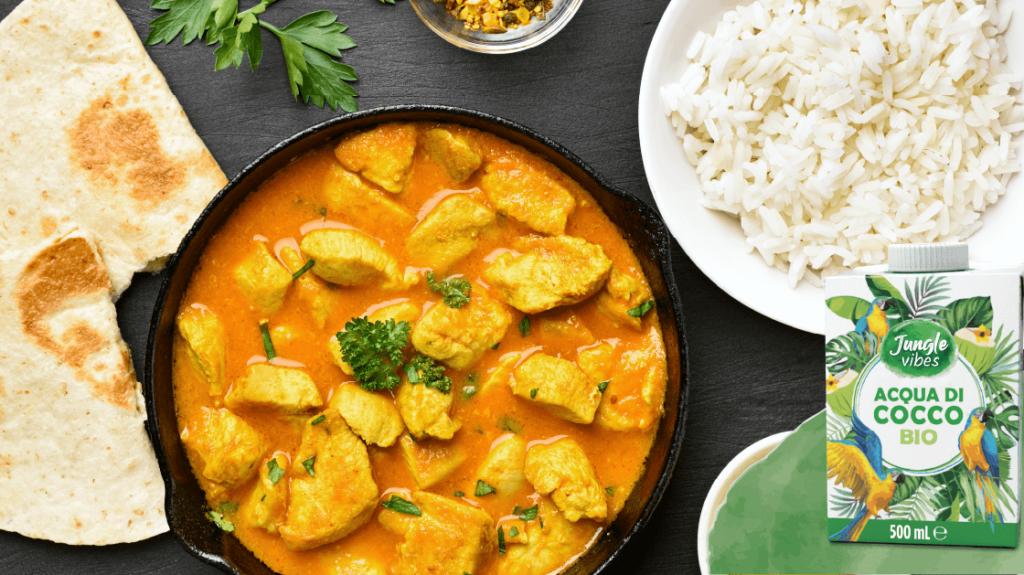 pollo al curry con acqua di cocco